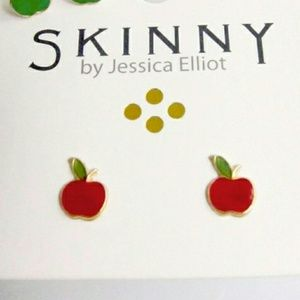 Just in! USA Made 14K Gold Red Apple earrings